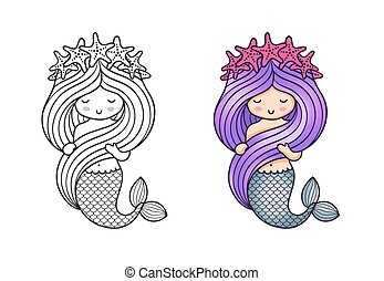Gorgeous mermaid with a wreath of starfish, holding her long beautiful hair.