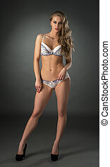 Gorgeous model advertises beautiful lingerie