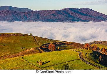gorgeous morning in mountainous rural area in autumn. wooden...