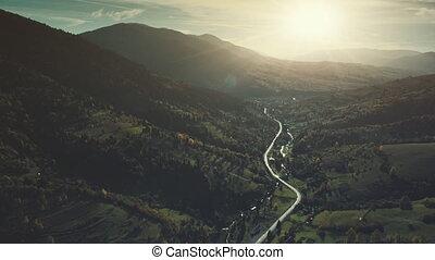 Gorgeous mountain forest slope sight aerail view - Gorgeous...