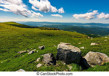 gorgeous mountain landscape on a summer day. giant boulders...