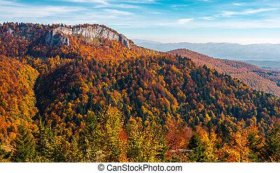 gorgeous mountainous autumn landscape. cliff above the...