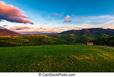 gorgeous mountainous countryside at dusk. beautiful...