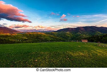 gorgeous mountainous countryside at dusk