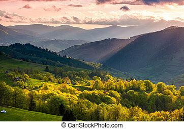 gorgeous mountainous countryside at sunset. beautiful...