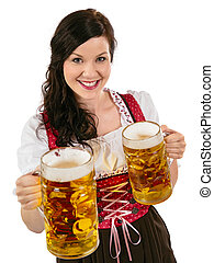 Gorgeous Oktoberfest waitress with beer - Photo of a...