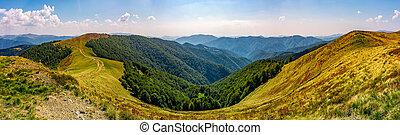gorgeous panorama of alpine mountain ridge with grassy...