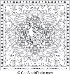 gorgeous peacock coloring page design in ethnic style