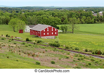Gorgeous red barn at train tracks