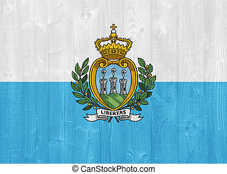 San Marino flag - gorgeous San Marino flag painted on a wood...