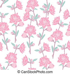 Gorgeous seamless pattern with blooming pink rose on white background. Backdrop with beautiful tender flowers. Colored vector illustration in antique style for wrapping paper, wallpaper, fabric print.