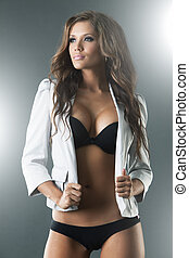 Gorgeous sexy woman in black lingerie and jacket - Gorgeous...