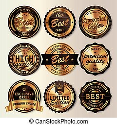 Gorgeous shining labels set, glossy round labels with black...
