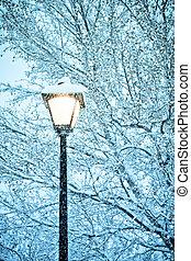winter street light
