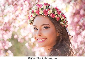 Gorgeous spring makeup woman.