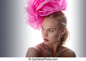 Gorgeous style - Gorgeous woman with pink flower on head ...