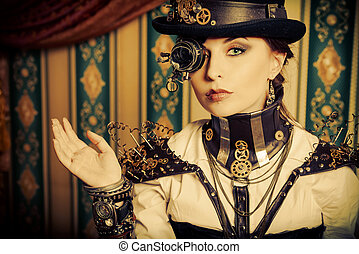 gorgeous style - Portrait of a beautiful steampunk woman...