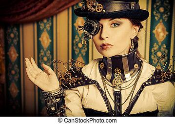 gorgeous style - Portrait of a beautiful steampunk woman...