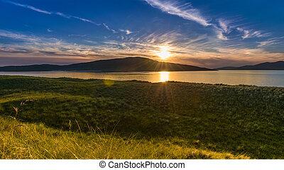 Gorgeous sunset on the beach. Luskentyre, Isle of Harris, Scotland