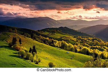 gorgeous sunset over Carpathian mountains. beautiful...