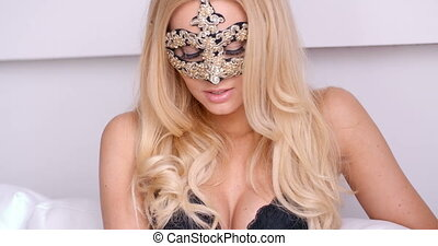 Gorgeous Topless Blond Woman in Carnival Mask - Close up...