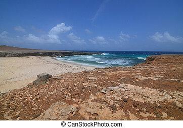 Desolate and deserted Daimari Beach in Aruba.