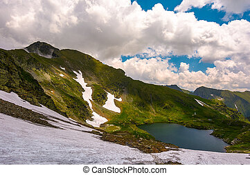 gorgeous view of lake in high mountains. lovely summer...