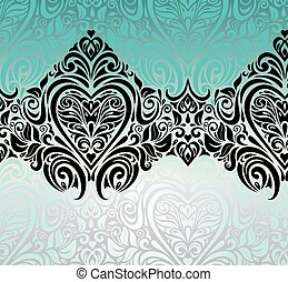 Gorgeous vintage Black & Turquoise background design with...