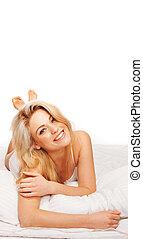 Gorgeous vivacious blonde woman