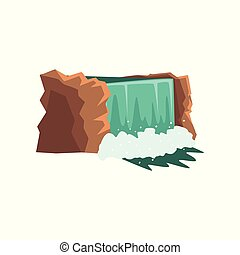Gorgeous waterfall with clean blue water. Water source. Crystalline stream. Nature environment concept. Cartoon vector design for kids book or mobile app