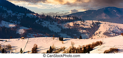 gorgeous winter landscape in mountainous rural are....