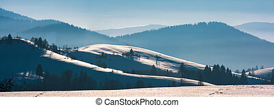 gorgeous winter panorama of rolling hills - gorgeous winter...