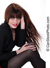 Gorgeous woman in beautiful black dress