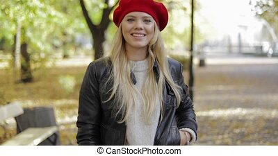 Gorgeous woman in park
