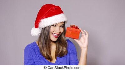 Gorgeous woman in Santa hat holding gift
