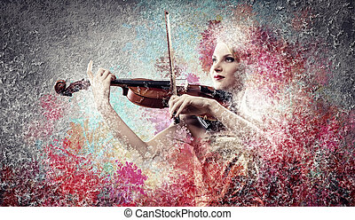Gorgeous woman playing violin - Image of gorgeous woman ...