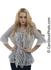 gorgeous woman posing on white background