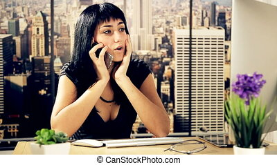 Gorgeous woman working in office