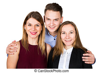 Gorgeous women posing with young man