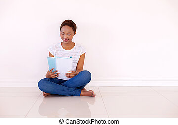 young african american college student studying