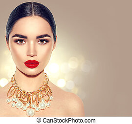 Gorgeous Young Brunette Woman face portrait