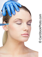 Gorgeous young model having botox injection