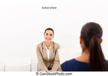 woman during job interview session