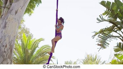 Gorgeous young woman gymnast working out on silks