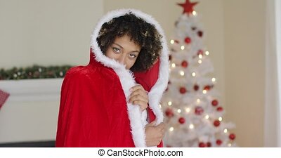 Gorgeous young woman wearing a Santa outfit - Gorgeous young...