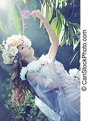 Gorgeous ypung lady with the flowery dress