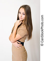 Gorgeus young brunette thinking....