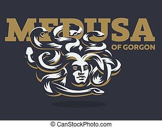 gorgon., wektor, illustration., medusa