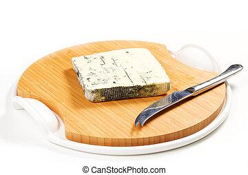 gorgonzola cheese on a white background