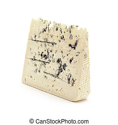 Gorgonzola cheese slice isolated closeup